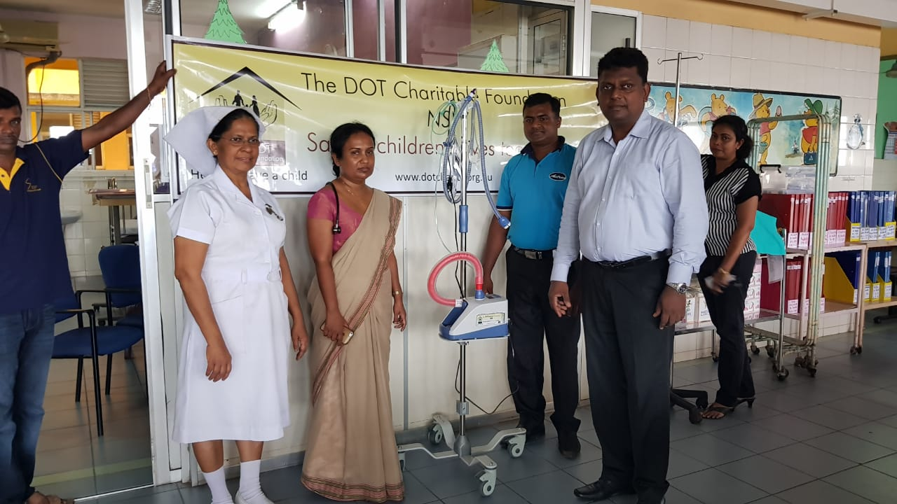 DONATION OF HIGH FLOW NASAL CANNULA OXYGEN DELIVERY SYSTEM MACHINE TO PAEDIATRIC UNIT OF DISTRICT GENERAL HOSPITAL GAMPAHA
