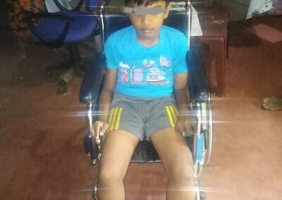 Chamuditha in wheel chair